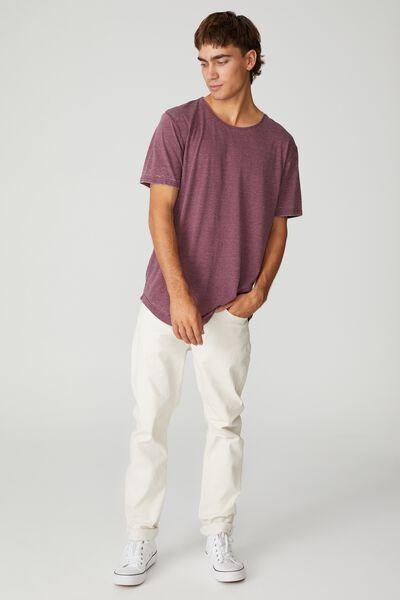 Longline Scoop Burnout T-Shirt, BURGUNDY
