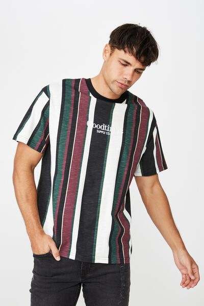 Downtown Loose Fit Tee, BLACK/SEA MIST/DEEP TEAL/GRAPE WINE VERTICAL STRIP