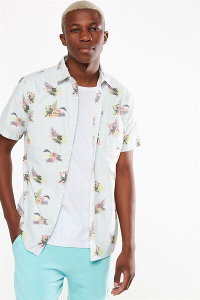 Vintage Prep Short Sleeve Shirt, CHAMBRAY ISLAND PRINT