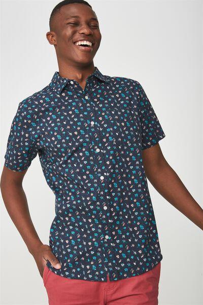 Short Sleeve Resort Shirt, NAVY MICRO FLORAL PRINT