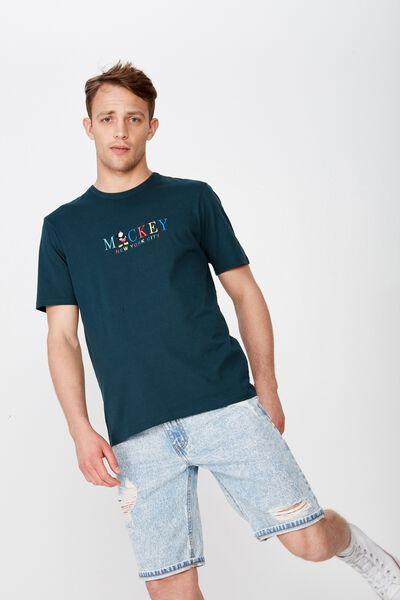 Tbar Collab Character T-Shirt, LCN DIS DEEP SEA TEAL/MICKEY - NEW YORK CITY