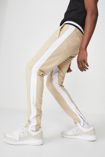 Urban Side Stripe Track Pant, STONE /WHITE PANEL