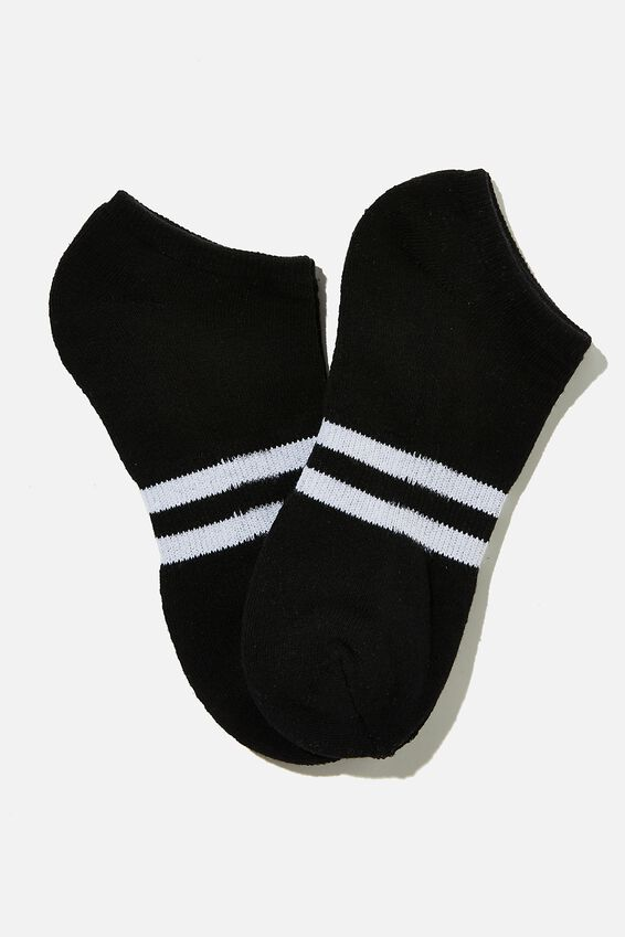 Ankle Socks 2 Pack, BLACK/WHITE SPORT STRIPE