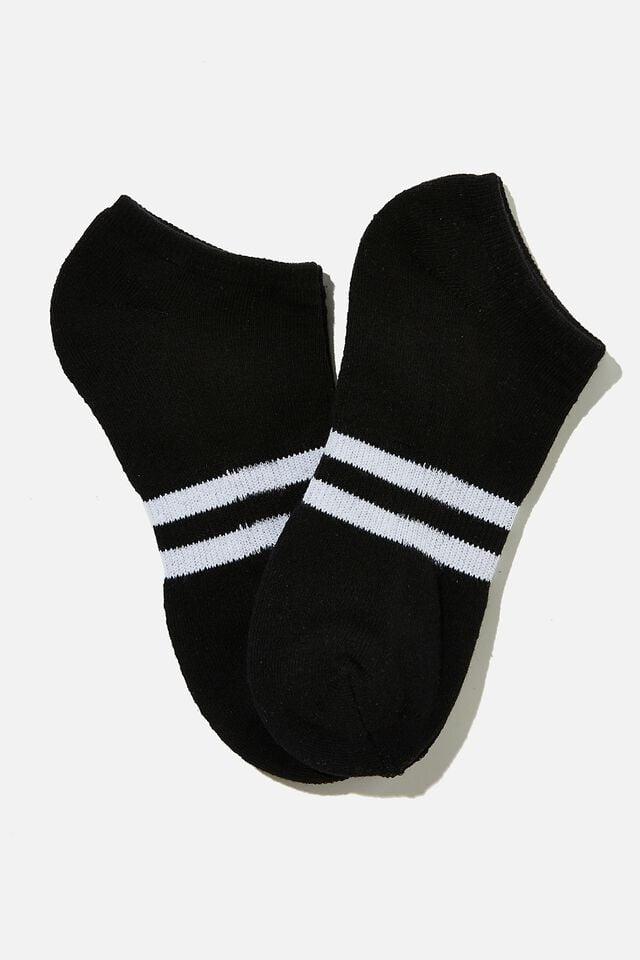 Ankle Socks 2 Pack, BLACK/WHITE SPORT STRIPE