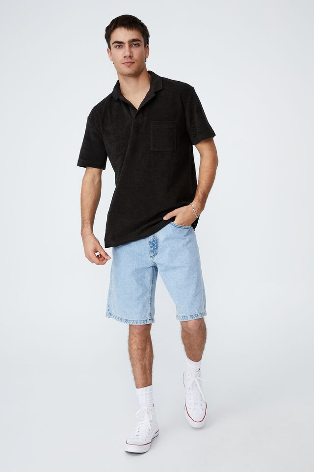 Textured Polo, WASHED BLACK