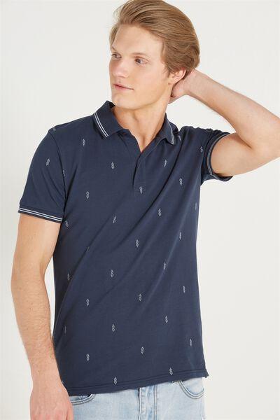 Short Sleeve Prep Polo Slim Fit, NAVY