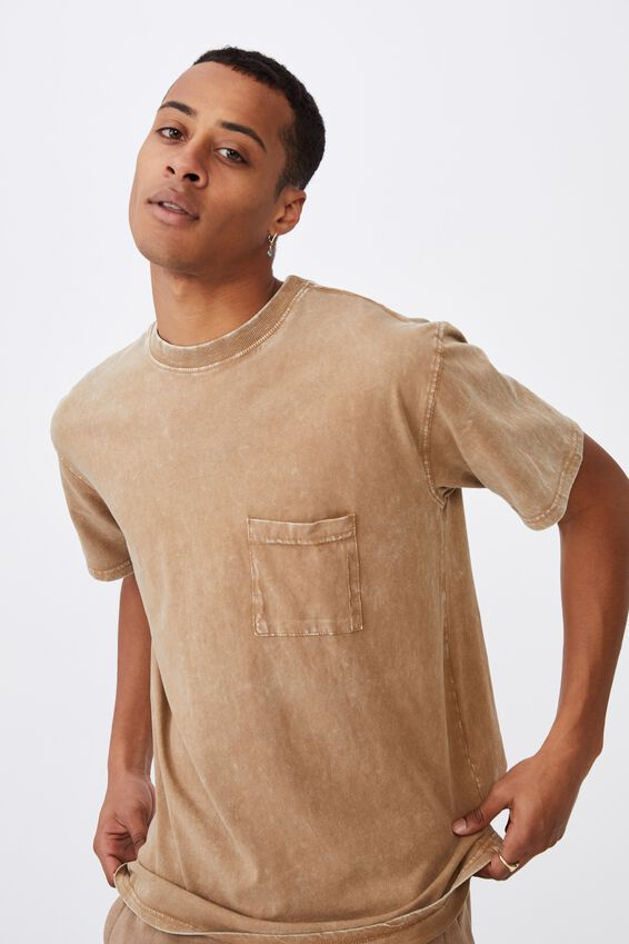 Washed Pocket T-Shirt, BURNT ALMOND