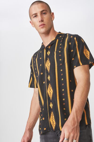 91 Short Sleeve Shirt, VERTICAL TRIBAL DIAMOND