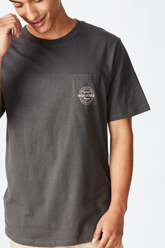 Tbar Moto T-Shirt, SK8 FADED SLATE/IRONWORKS DETROIT