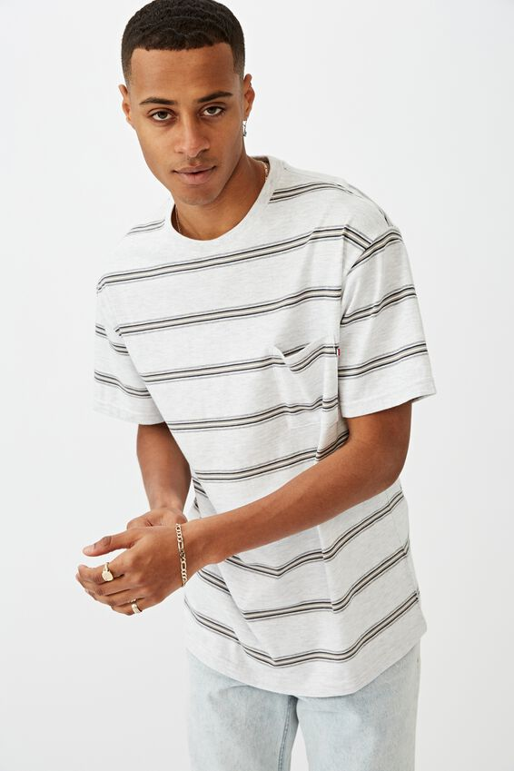 Graduate Tee, LIGHT SPACED MARLE RADIATE STRIPE