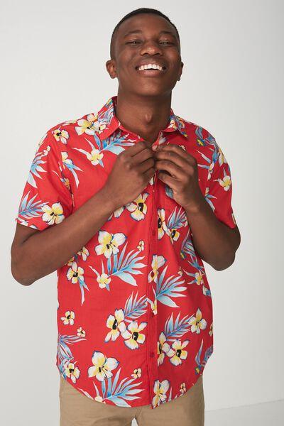 Short Sleeve Resort Shirt, RED RESORT