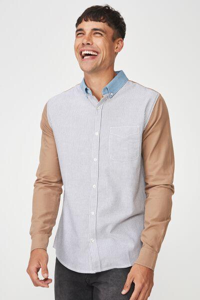Brunswick Shirt 3, STRIPE CAMEL BLOCKED