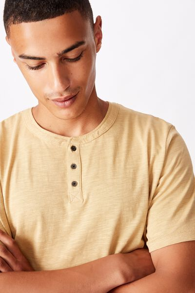 Slub Grandad Tee, LIGHT CAMEL