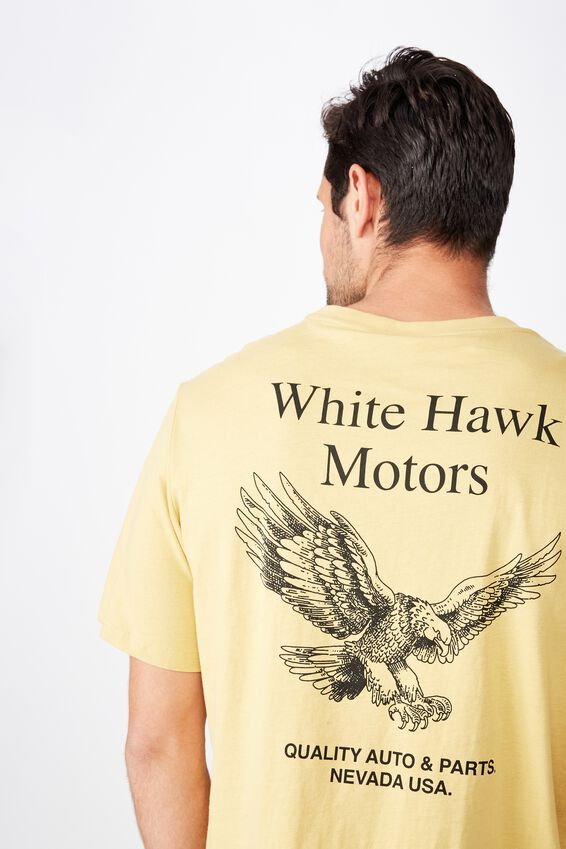 Tbar Moto T-Shirt, SK8 FROSTED HONEY/WHITE HAWK MOTORS