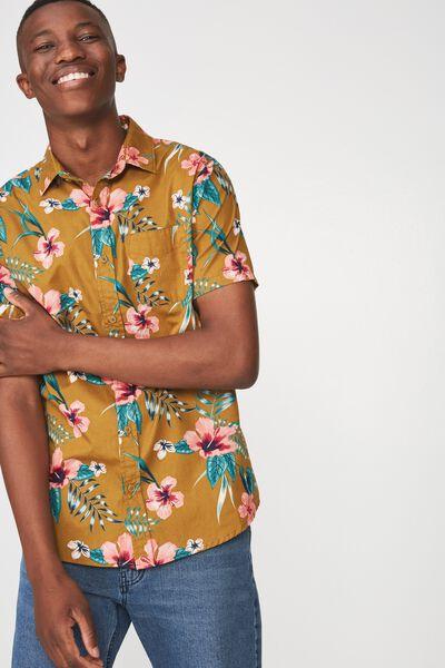 Short Sleeve Resort Shirt, KHAKI FLORAL