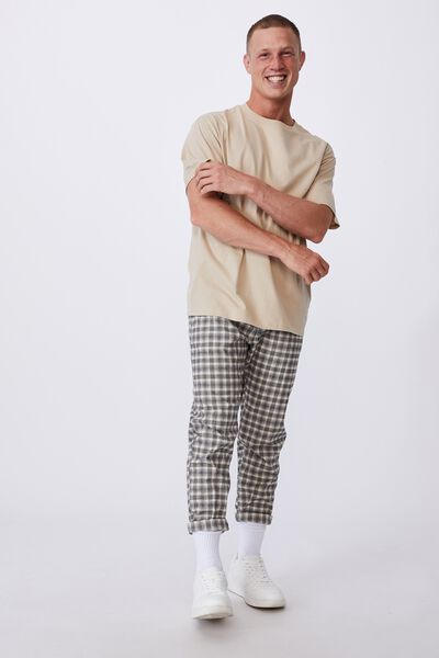 Oxford Trouser, STONE MUSTARD MINI CHECK