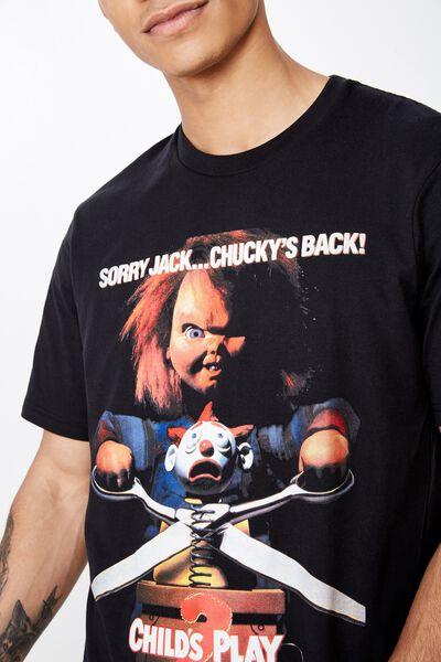 Tbar Collab Movie And Tv T-Shirt, LCN UNI SK8 BLACK/CHUCKY - CHILDS PLAY 2 POSTER