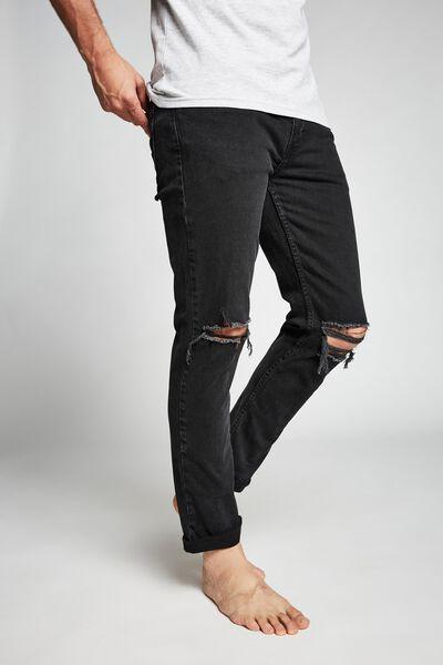 Tapered Leg Jean, BLACK BLOWOUT