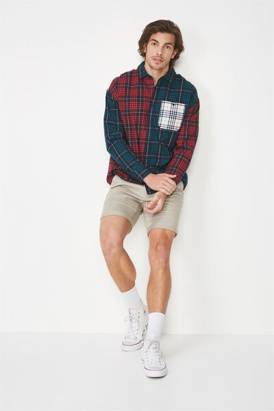 Long Sleeve Rugged Light Shirt, COLOUR BLOCKED CHECK