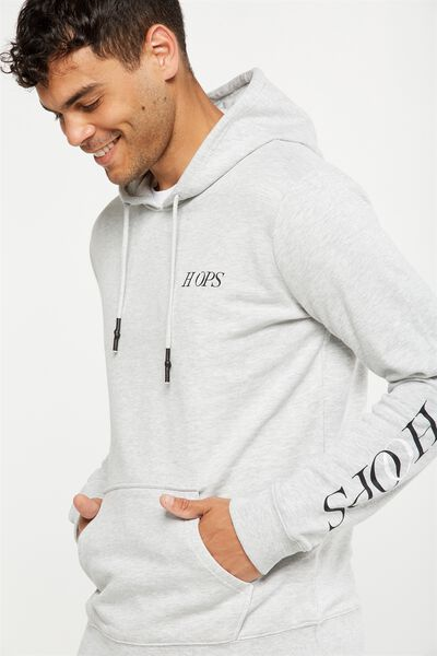 Fleece Pullover 2, LIGHT GREY MARLE/HOOPS