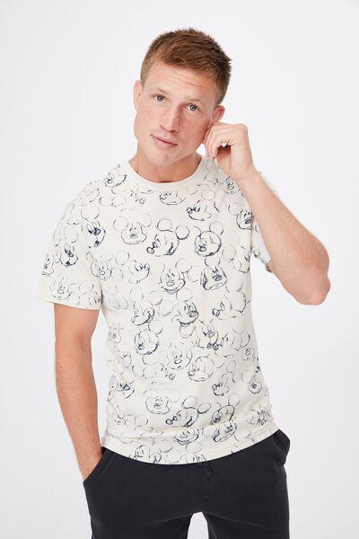 Tbar Collab Character T-Shirt, LCN DIS BONE/MICKEY MOUSE-SKETCH