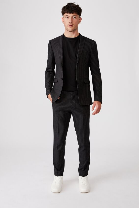 Fashion Slim Stretch Suit Pant, CHARCOAL STRIPE