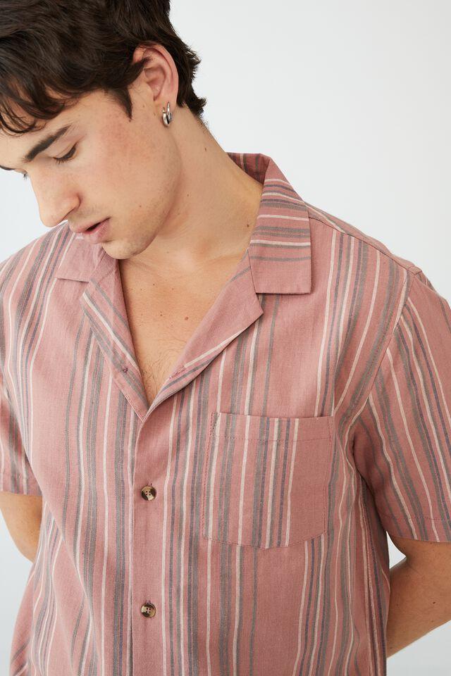 Riviera Short Sleeve Shirt, FADED MAROON 70S STRIPE