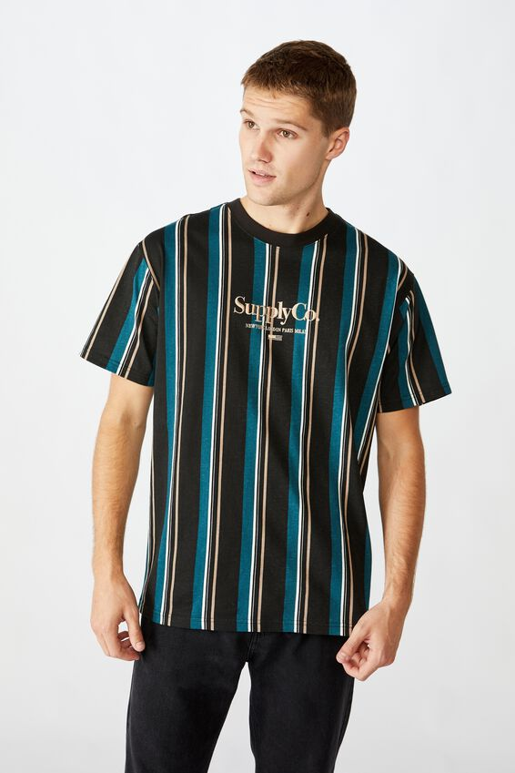 Downtown T-Shirt, WASHED BLACK SUPPLY CO  OVERSIZED STRIPE