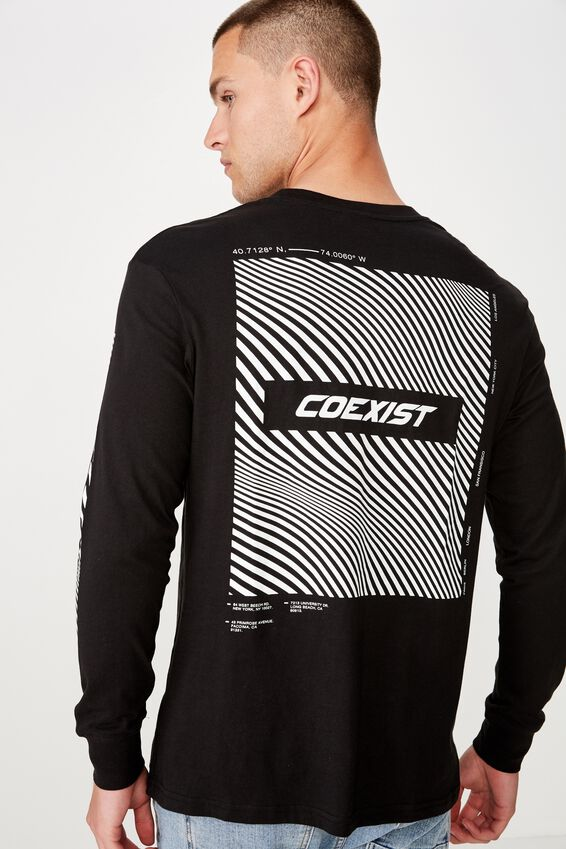 Tbar Long Sleeve, BLACK/COEXIST