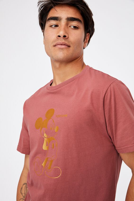 Tbar Collab Character T-Shirt, LCN DIS OX BLOOD/MICKEY MOUSE-METALLIC