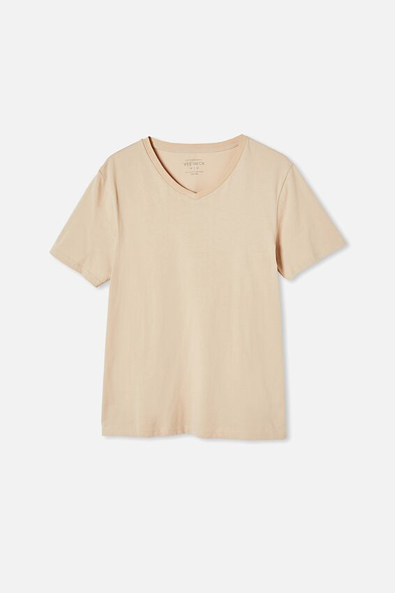 Essential Vee Neck T-Shirt, CLAY STONE