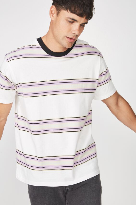 Dylan Tee, CREAM PUFF/FROSTY PURPLE STRIPE