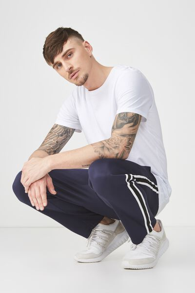 Slim Side Stripe Track Pant, NAVY