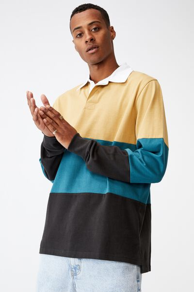 Rugby Long Sleeve Polo, CAMEL/DARK TEAL/WASHED BLACK WEEKDAY STUDIOS