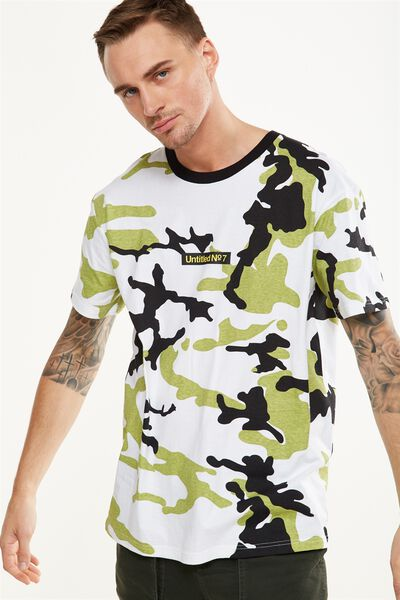 Downtown Loose Fit Tee, WHITE CAMO/UNTITLED NO 7