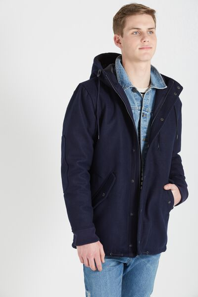 Melton Duffle Jacket, NAVY