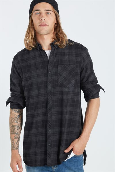 Ae Long Sleeve Longline Shirt, TONAL CHECK