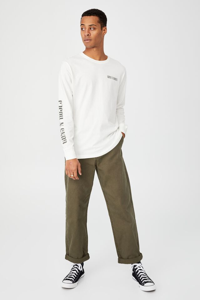 Tbar Collab Long Sleeve T-Shirt, LCN BRA VINTAGE WHITE/GUNS N ROSES HAND DRAWN