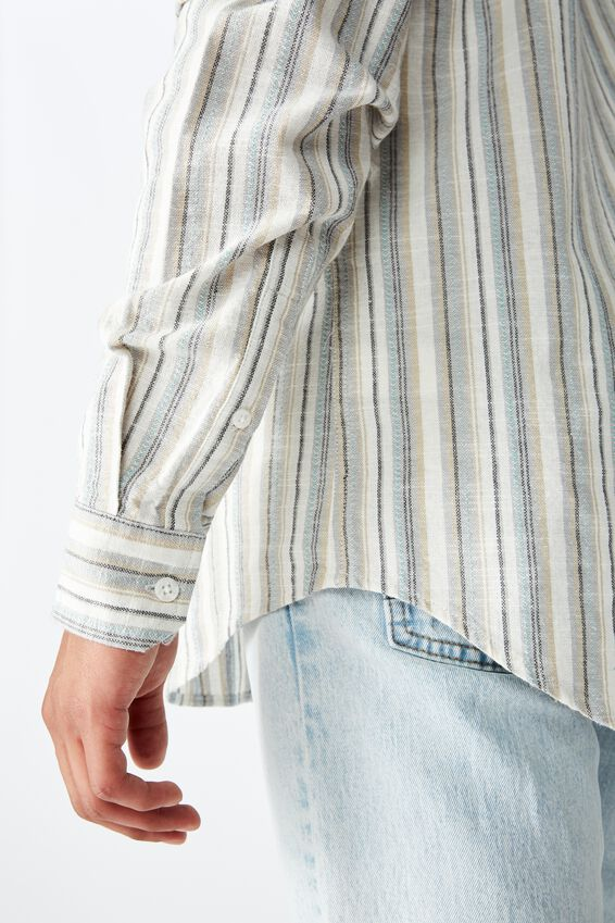 Textured Long Sleeve Shirt, NATURAL STRIPE