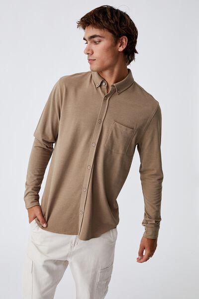 Textured Long Sleeve Shirt, CHOCOLATE TEXTURE