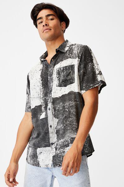 91 Short Sleeve Shirt, BLACK RIP N TEAR