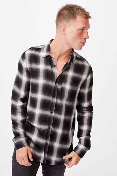 Premium Check Shirt, BLACK WHITE OMBRE