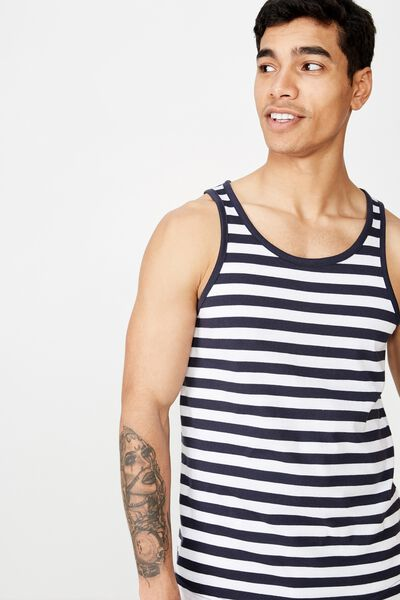 Tbar Anchor Tank, WHITE/NAVY 50/50 STRIPE