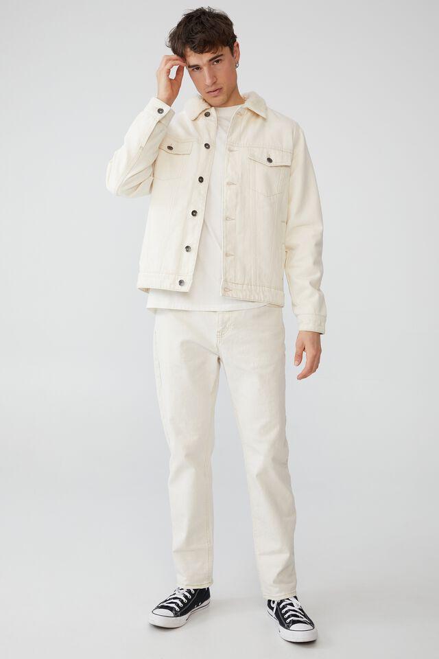 Borg Denim Jacket, NATURAL