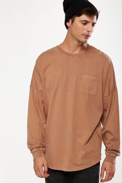 Drop Shoulder Long Sleeve, CHIPMUNK BROWN ACID