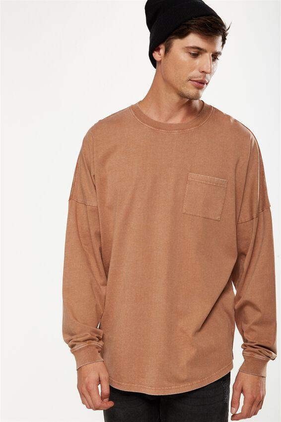 Drop Shoulder Long Sleeve, CHIPMUNK BROWN ACID