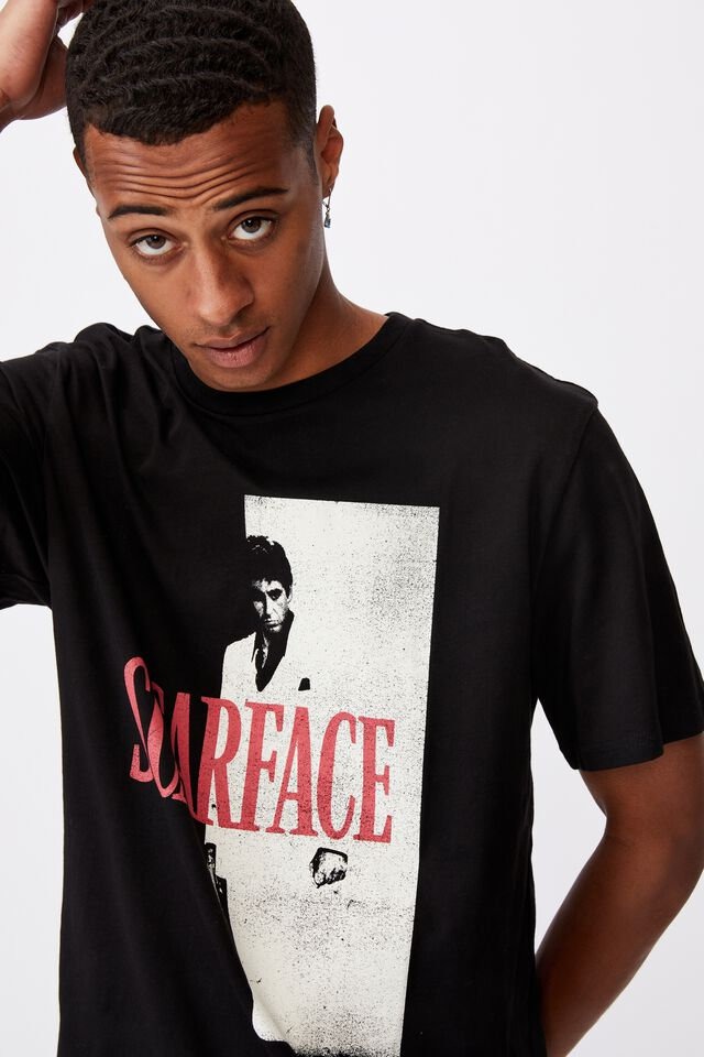Tbar Collab Movie And Tv T-Shirt, LCN UNI BLACK/VINTAGE SCARFACE-POSTER