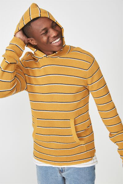 Hooded Waffle Knit, MUSTARD NAVY STRIPE