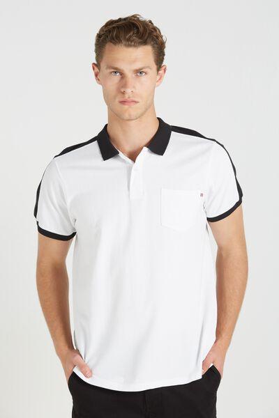Short Sleeve Panel Polo Slim Fit, WHITE/BLACK
