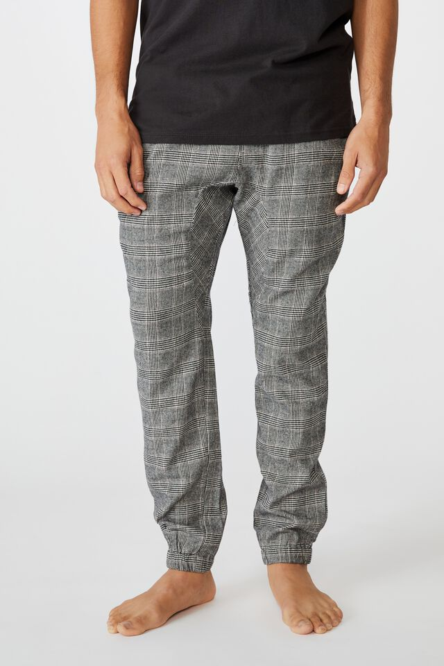 Lounge Pant, White Black Micro Check